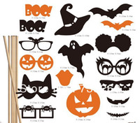 Wholesale New arrival DIY Photo Booth Props Bat Pumpkin Glasses On A Stick Halloween party fun favor