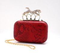 2013 CALIENTE de Leopardo Dedos de Embrague Anillos Bolsos de Noche diseñador de Embrague de las mujeres bolsos de fiesta bolso de hombro