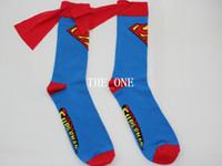 cartoon character - cosplay accessories Superman Batman under knee high Superhero socks with cape Unisex men women socks cape socks Super Hero Character