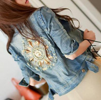 denim jackets women - Hot Autumn Womens Sequined Jacket Denim Jackets Womens Short Coat Plus Size Rivet Jean Outwear Hole Design Female Coat