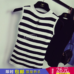 Wholesale F2 b Korean version of the Slim thin waist striped knit camisole thin hollow outer wear jacket female models