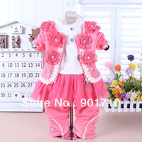 Wholesale Rare Edition child girls baby zipper coat three separate set clothing sets Baby infant jackets t shirts pants Gift for baby girl