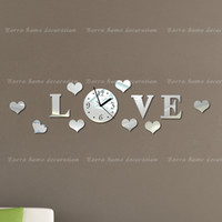 Mechanical Wall Clocks Yes Free shipping DIY fashion mirror wall clock, the sitting room is decorated, very beautiful LOVE wall stickers