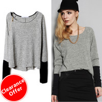 Women Short V-Neck 2014 Latest Fashion Sping Autumn Women's Clothing Loose Thin Light Grey Zippered Curved Hem Jumper Pullover Short Sweater+ 2014