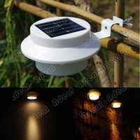 8-10 Hours on by 4-8 Hours Charge PP, ABS(white shell)+ Stainless Steel 1-3 m3 Solar Power Panel 3 LED Fence Gutter Light Outdoor Garden Wall Lobby Pathway Lamp #TK1414