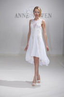 Sheath/Column Reference Images Scoop 2014 New High Low Wedding Dresses Beads Sequined Crystal Scoop Neckline Sleeveless White Short Chiffon Bridal Gowns Custom Made