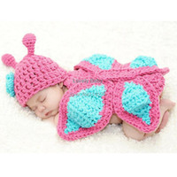 Unisex Summer Crochet Hats Baby Butterfly Hat Cape Costume Set Girl Clothes Romper Photo Prop Outfits Infant Crochet Animal Beanie Hat 18497
