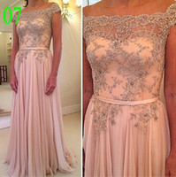 Wholesale Flow chiffon custom made A line prom dresses elegant bateau sequins beaded stunning floor length formal evening gowns party dresses