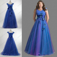 Discount 2016 Real Image Corset and Tulle Prom Dresses Ombre...