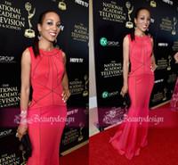 Wholesale 2014 Emmy Awards Shaun Robinson red carpet celebrity dresses elegant satin mermaid formal evening gowns floor length prom dress EM4139