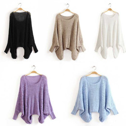 Wholesale New Tops Hot Women Knitted Batwing Hollow Round neck Long Sleeve Casual Jumper Loose Pullover Sweater S0476
