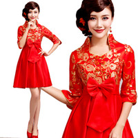 A-Line Chiffon Halter Sexy retro red long-sleeved wedding dress the bride toast improved short paragraph custom clothing spring 2261