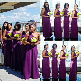 Purple One Shoulder Bridesmaid Dresses Chiffon Ruffles Floor Length Custom Made Evening Gowns Prom Dress