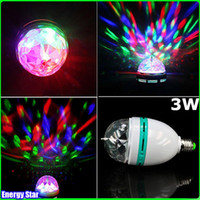 Auto color light bulb - New Arrival Dazzling E27 W RGB LED Laser Stage Light Crystal Magic Ball Effect Colorful Bulb Roating Lamp for KTV Party DJ Disco House Club