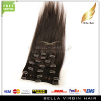 Brazilian Hair virgin brazilian hair clip in - New Fashionable Human Clip In On Hair Extensions Natural Virgin Brazilian Hairs Remy Human Hair Color Straight Weave inch g set