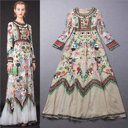 Wholesale New Arrival Spring Autumn Women s O Neck Embroidery Flowers A Line Tulle Layered Elegant Runway Maxi Dresses