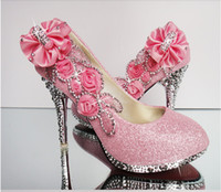 Wedding High Heel Round Toe 2014 beautiful Silver Pink Vogue lace Flowers Crystal High Heels Wedding Bridal Shoes Mew Bridal Shoes Cheap In Stock