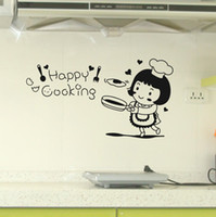 Wholesale The new wall stickers Happy cook kitchen restaurant table backdrop stickers sticker wall hangings decorated cupboard