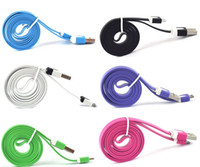 For Samsung   New Colorful V8 Flat Micro USB Cable Noodle Charger Cord 1M for HTC M7 Samsung S4 N7100 Sony L36h DHL FREE 350PCS UP