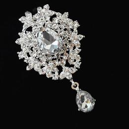 Silver Tone Crystal Drop Pendent Brooch Pins,Wedding Bridal Bouquet Brooch Four Colors Drop Crystal Brooch Women Costume Pins