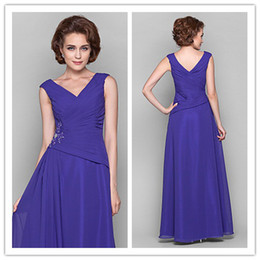 2019 autumn Exquisite blue v-neck chiffon handmade beads Crystals Ruffle A-line Floor length Mother of the Bride Dresses