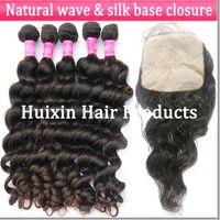 European Hair Natural Wave 100% Virgin Human Hair silk base closure hair closure virgin hair closure princess hair Virgin Brazilian 3 bundles hair extension and 1 silk base closure