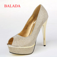 Wholesale 2014 New Style fashion silver Heels wedding prom Formal occasions shoes Stiletto Heel14cm Peep Toe Sequined Patent Autumn SA03