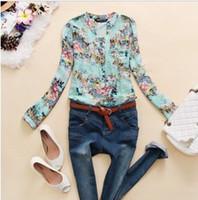 V-Neck Regular Acetate New 2014 v-neck chiffon blouse women long sleeve flower print shirt women blusas femininas dudalina free shipping