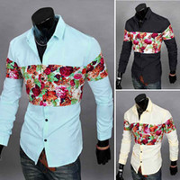 Wholesale Hot Mens Hawaiian Shirts Men s dress Shirts Men s Casual Fit Stylish long sleeved Shirts