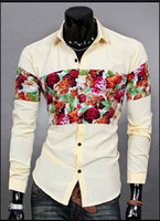 Wholesale Hot Mens Hawaiian Shirts Men s dress Shirts Men s Casual Fit Stylish long sleeved Shirts color