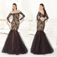 Reference Images Scalloped Lace 2014 2015 Sexy Tulle Mermaid Evening Dresses With Lace Bow Long Sleeves Lace Formal Prom Celebrity Gowns Hollow Floor Length Hollow