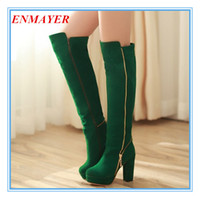 Wholesale ENMAYER Over the Knee BOOTS Chains high heel boots women snow fashion winter footwear warm long boot shoes
