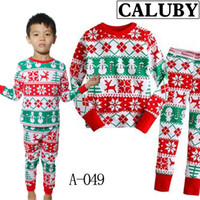 Wholesale 2pcs boys Christmas Pajamas Sets Kids Cotton Snowflakes Xmas pyjams outfits Children t shirt stripe pants night suit Casual sleepwear gmy