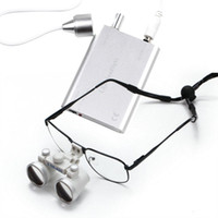 3.5X 420mm 80mm Dental Surgical Binocular Loupes 3.5X 420mm Optical Glass Loupe + LED Head Lamp + Free Carry Case