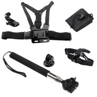 Wholesale Chest Harness Head Strap Mount Monopod Tripod Adapter Extend Pole Gopro HD Hero With JHOOK Mount Carry Bag W0070A