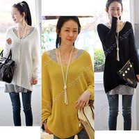 Women Pullover Long New women Sexy V-neck Oversized Batwing Slouchy Knitted Top Jumper Loose Sweater Pullover 7136