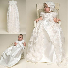2019 Christening Dresses Lovely High Quality Taffeta Baptism Gown Lace Jacket Christening Dresses with Bonnet for Baby Girls and Boys