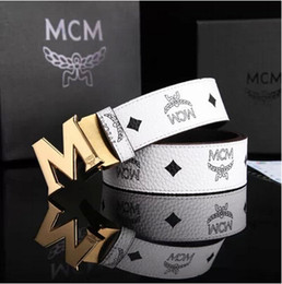 Wholesale MCM Cowskin Belts Leather Men Belts Silver Plated M Letter Belts Buckle Women Fashion Casual Belts White Black Orange Blue Brown