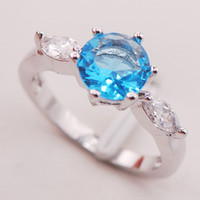 Wholesale Brand Christmas New Blue Topaz Crystal Sterling Silver Ring Size F741