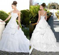 Wholesale Vestido De Noiva Wedding Dresses Bridal Gown Strapless Designer New Crystal One Shoulder Corset