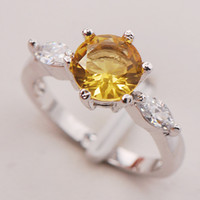 With Side Stones Celtic Women's Brand Christmas New Citrine Crystal 925 Sterling Silver Ring Size F744 6 7 8 9 10 11