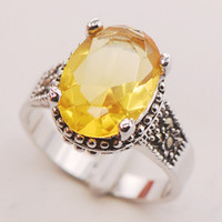 Cheap With Side Stones silver ring Best Celtic Women's citrine crystal