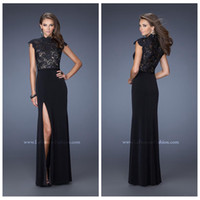 Reference Images High Neck Chiffon Black Lace Applique Prom Dresses High Neck Chiffon Capped Sleeve Formal Evening Party Dresses Floor Length A Line Prom Party Gowns Side Slit
