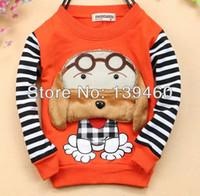 Wholesale free ship kid girl boys baby children clothes fashion stripe dog print cotton hoodies outwears sweatsshirts long sleeve sweaters