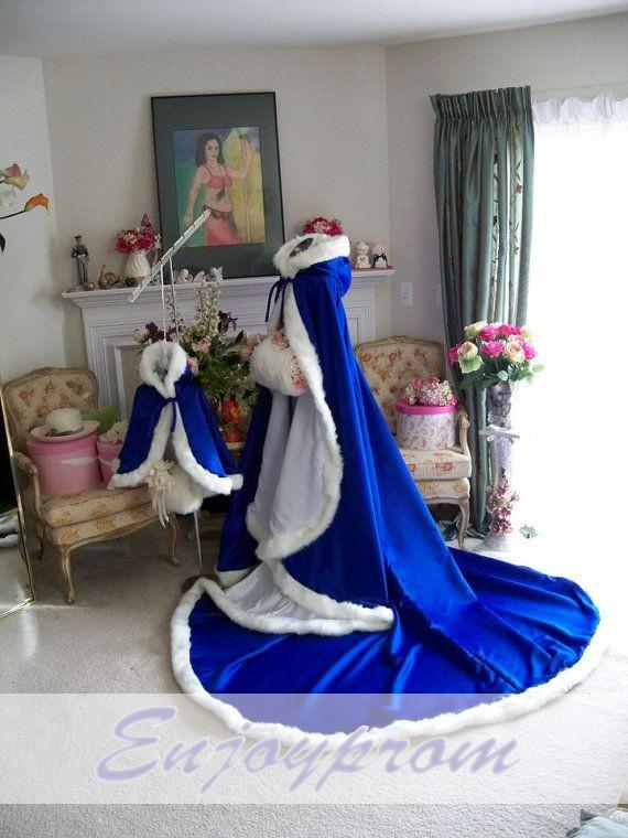 Royal blue winter bridal cloak long girls cape tippet for White wedding dress with blue trim