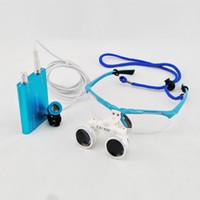 Wholesale 2014 Dental Dentist Surgical Medical Binocular Loupes X mm Optical Glass Loupe LED Head Light Lamp Blue Free Carry Case