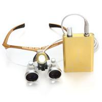 Wholesale Yellow X320mm Dentist Surgical Binocular Loupes optical glass Dental magnifier LED headlight lamp