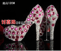Wedding Loafers High Heel Corful Unique Sparkling Crystal Diamond Wedding Bridal Shoes High Heels Waterproof Sandal Party Prom Shoes