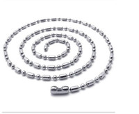 Cheap Wholesale Stainless Steel Bamboo Beads Ball Waist Buckle Chains Necklaces 2.4MM Stainless Steel Jewelry 100PCS LOT Free Shipping