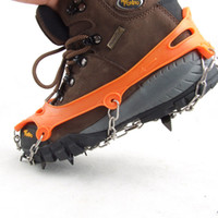 Wholesale 1 Pair Teeth Claws Crampons Non slip Shoes Cover Stainless Steel Ice Gripper Chain Outdoor Ski Snow Hiking Climbing H11675
